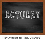 Small photo of ACTUARY hand writing chalk text on black chalkboard