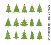 set of different fir trees on... | Shutterstock .eps vector #507297601