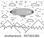 dirigible and hot air balloos... | Shutterstock .eps vector #507301381