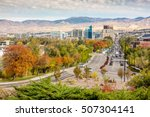 Small photo of Boise Idaho street leading to the capital building in fall