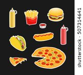 set symbols fast food vector... | Shutterstock .eps vector #507314641