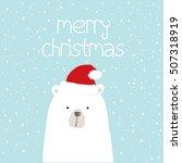 christmas card with polar bear... | Shutterstock .eps vector #507318919