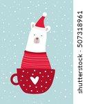 christmas card with cute santa... | Shutterstock .eps vector #507318961
