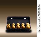 Gold Eggs In A Black Carton On...