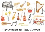 watercolor musical instruments... | Shutterstock . vector #507329905