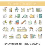 office supplies set with... | Shutterstock .eps vector #507330247