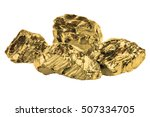 Small photo of Golden nuggets closeup isolated on white