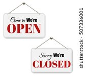 open and closed signs setwith... | Shutterstock .eps vector #507336001