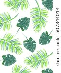 palm leaves pattern  | Shutterstock . vector #507344014