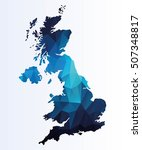 polygonal map of great britain | Shutterstock .eps vector #507348817
