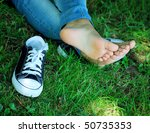 feet of the girl teenager and... | Shutterstock . vector #50735353