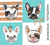 glamour french bulldog. vector... | Shutterstock .eps vector #507363544