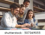 concentrated at work. side view ... | Shutterstock . vector #507369055