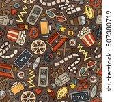cartoon cute hand drawn cinema... | Shutterstock .eps vector #507380719
