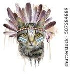 american indian cat graphic | Shutterstock . vector #507384889