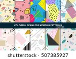 Stock vector collection of vector abstract seamless patterns with geometric shapes retro memphis style fashion 507385927