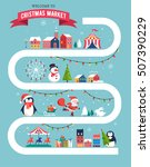 christmas village map  winter... | Shutterstock .eps vector #507390229
