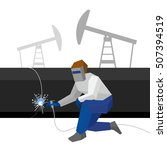welder in the mask connects... | Shutterstock .eps vector #507394519