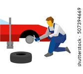 mechanic with wrench repair red ... | Shutterstock .eps vector #507394669