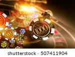 Golden Casino Roulette Chips Blow Concept 3D Render Illustration. Gambling Theme. - stock photo
