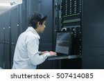 Small photo of Administrator working in data center