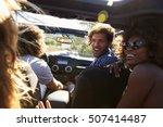 four friends driving in an open ... | Shutterstock . vector #507414487