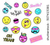 pop art set with fashion patch... | Shutterstock . vector #507415381