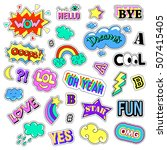 pop art set with fashion patch... | Shutterstock . vector #507415405
