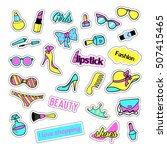 pop art set with fashion patch... | Shutterstock . vector #507415465