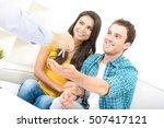 young interracial couple... | Shutterstock . vector #507417121