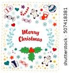 christmas greeting card.... | Shutterstock .eps vector #507418381