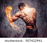 shirtless aggressive fighter... | Shutterstock . vector #507422941