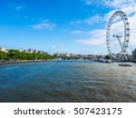 Small photo of LONDON, UK - JUNE 10, 2015: The London Eye ferris wheel on the South Bank of River Thames aka Millennium Wheel built in 1999 using advanced aeronautical engineering know how by British Airways (HDR)
