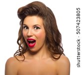 pinup portrait of young woman...   Shutterstock . vector #507423805