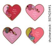 Bright Ornamental Hearts With...
