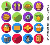 apiary set icons in flat style. ... | Shutterstock .eps vector #507425911