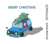 car with a christmas tree on... | Shutterstock .eps vector #507426625