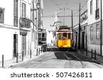 yellow tram on old streets of... | Shutterstock . vector #507426811