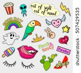 fashion patch badges. big set.... | Shutterstock . vector #507429535