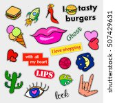 fashion patch badges. big set.... | Shutterstock . vector #507429631