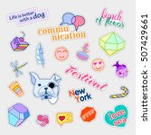 fashion patch badges. big set.... | Shutterstock . vector #507429661