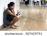 woman sitting in the lobby and... | Shutterstock . vector #507429751
