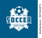 soccer emblem flat icon on blue ... | Shutterstock .eps vector #507441871
