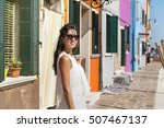 beautiful tourist woman with... | Shutterstock . vector #507467137