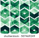 watercolor chevron green colors ... | Shutterstock . vector #507469249