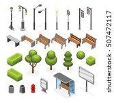 isometric city street outdoor...   Shutterstock .eps vector #507472117