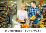 family couple 25s buying sweet... | Shutterstock . vector #507479164