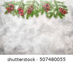 christmas tree branches with... | Shutterstock . vector #507480055