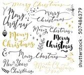 hand lettering merry christmas... | Shutterstock .eps vector #507486379