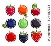 vector set colorful berries... | Shutterstock .eps vector #507487195